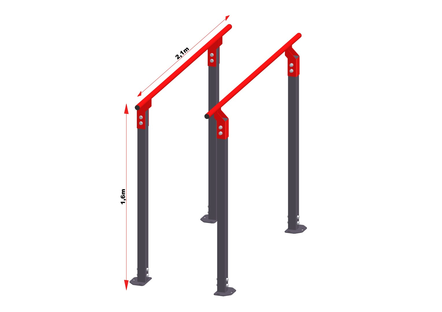 Gorilla grip parallel bars 1 6 meter hoog summit fitness - Service hoog ...